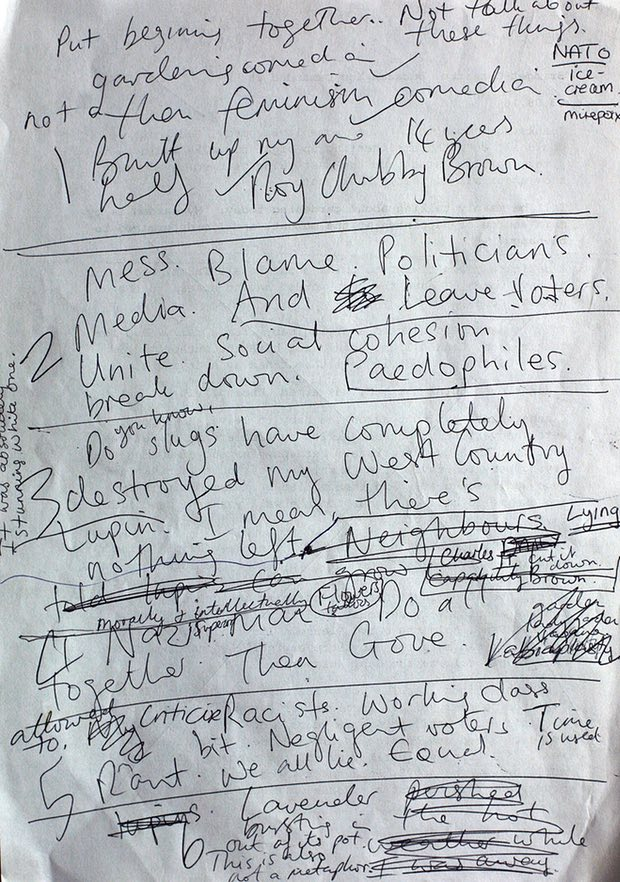 'My job is to make politics absurd. I'm becoming increasingly irrelevant' … Christie's notes. Photograph: Martin Godwin for the Guardian